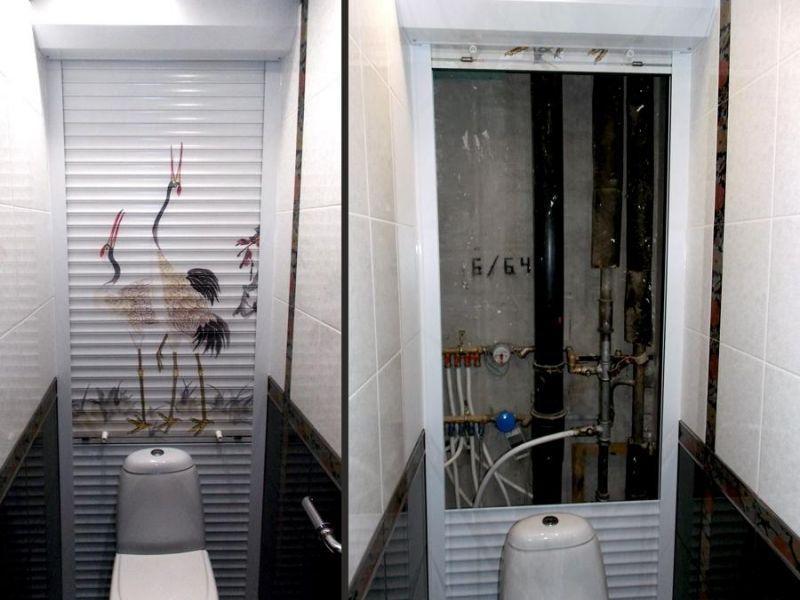 трубы под жалюзями в ванной