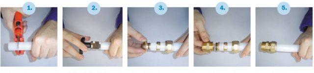 Пошаговая инструкция по присоединению фитинга из сшитого полиэтилена