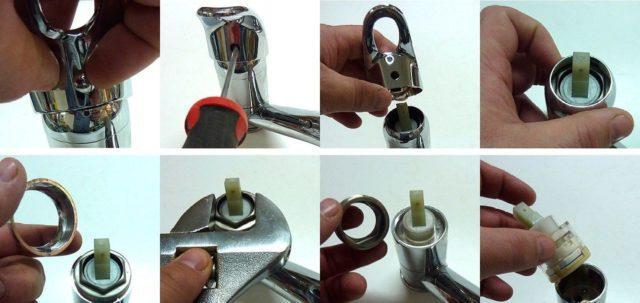 Схема разборки однорычажного смесителя