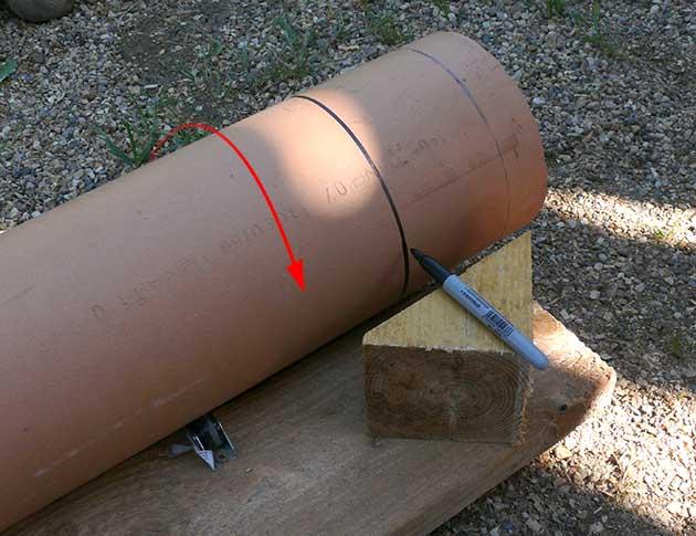 Применение маркера для разметки реза