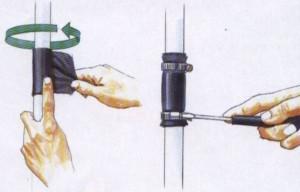 Применение резиновой заплатки для временного ремонта