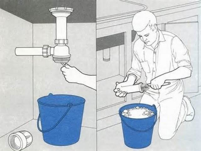 Процесс прочистки сифона раковины